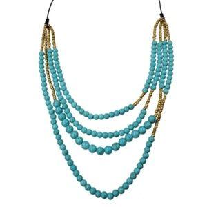 New SWEET LOLA 5 Row Turquoise Bead Necklace